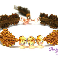 IVY Beaded Macrame Bracelet, Woven Leaf Bracelet with Swarovski Crystal Rondelle Beads - Brown/Crystal Copper