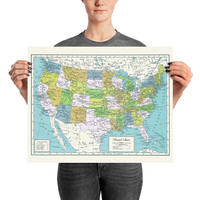 United States Map Print - USA, Historic Map of United States printed