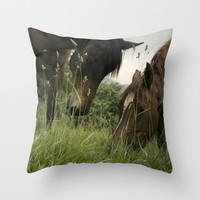 horses Throw Pillow by guxuri
