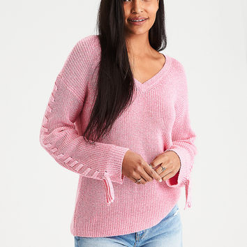 AE Laced Tie-Sleeve V-Neck Sweater, Pink
