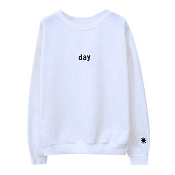 Harajuku Sweatshirts Long Sleeve Day&Night Embroidered letter Pullover Men And Women Hoodies Plus Size S-2XL