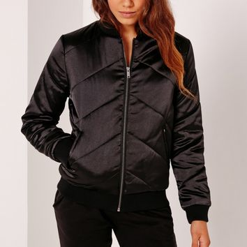 Missguided - Satin Quilted Bomber Jacket Black