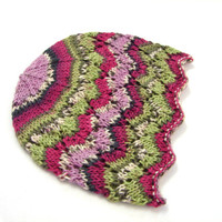 Green and fuchsia laced beanie, thin wool hat for kids, 1-6 year old girls, READY TO SHIP