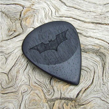 Handmade East Indian Rosewood Premium Guitar Pick - Batman Tribute - The Dark Knight