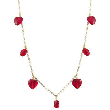 Red Heart And Oval Bead Charms On Gold Plated Brass Chain Necklace