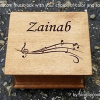 Wooden music box - Custom music box - Musical Note gift - engraved music box with your name engraved on the top, choose your color and song