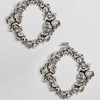 Regal Rose Sterling Silver Halloween Floral Wreath Statement Earrings at asos.com