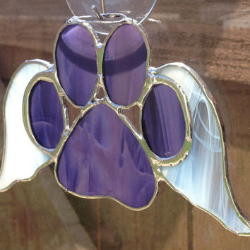 Purple Stained Glass Paw Print With Angel Wings Suncatcher