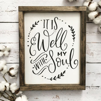 It is Well with my Soul Sign, Spiritual Sign, Bible Verse Sign, Inspirational Art, Farmhouse Sign, Rustic Wood Sign, Gallery Wall, Wood Sign