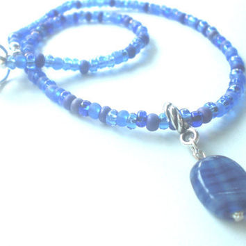 Child Size Cobalt Blue Czech Glass Beaded Necklace with Glass Bead Pendant