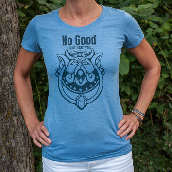No Good. Can't hear you. Women's Labyrinth door knocker triblend vintage style t-shirt in Clay or Blue