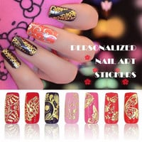 3d Gold Nail Stickers 108pcs/sheet Metallic Nail Art Decoration Tools Flower Designs Fashion Manicure Nail Decals
