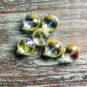 CCOIN-011 - Chinese Crystal Coin Beads, Lemon Ice, 7x12mm | Pkg 6