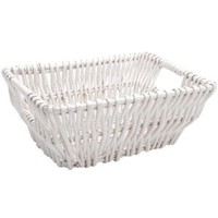 Imagine This! 6 by 9-1/2 by 12-Inch Wicker Basket, Small, White