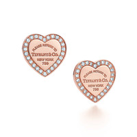 Tiffany & Co. -  Return to Tiffany™ mini heart earrings in 18k rose gold with diamonds.
