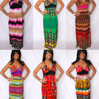 MAXI DRESSES HIGHEST QUALITY PAISLEY AZTEC TRIBAL ANIMAL BOHEMIAN FLORAL SZ S-3X