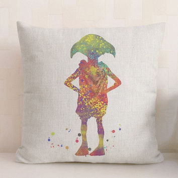 Harry potter dobby watercolor linen cotton pillow cover throw pillow case cushion cover