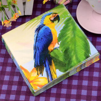 33*33cm 20 PCS/Pack Tropical Parrot Toilet Tissue Paper Napkin Printing Natural Comfort Funny Personality Party Popular Wipe
