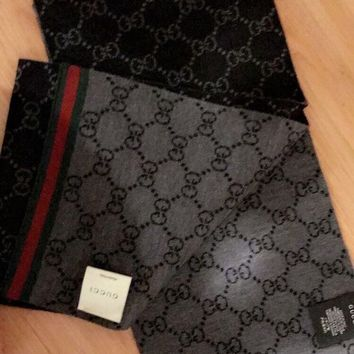 DCCK2JE Black and grey gucci wool unisex scarf