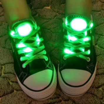 LED Nylon Shoelaces Light Up Shoe Laces Disco Flash Lighting the Night for Party Hip-hop Dancing Cycling Hiking Skating