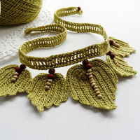 Crochet Choker - Natural Linen Necklace - Beaded  Leaves Necklace