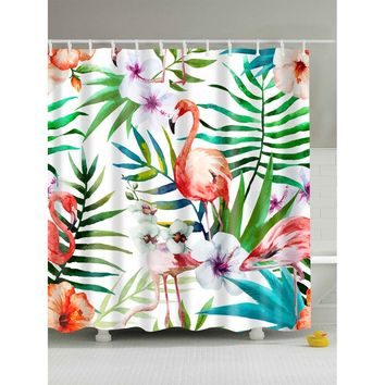 Flamingo & Jungle Shower Curtain With Hook 12pcs