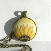 Hand Painted Half Sunflower Pendant Sunflower Necklace, Painted Jewelry, Small Acrylic Painting of Sunflower, Charm Necklace by Artdora