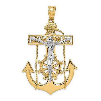 14k Two Tone Gold X-Large Mariner's Crucifix Cross Pendant, 35 x 58mm