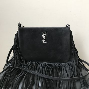 Saint Laurent Monogram Small Black Fringe-Edge Crossbody Bag