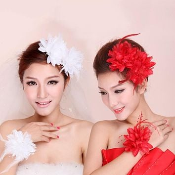 New Flower Feather Bead Corsage Hair Clips Fascinator Bridal Hairband Brooch Pin Hot