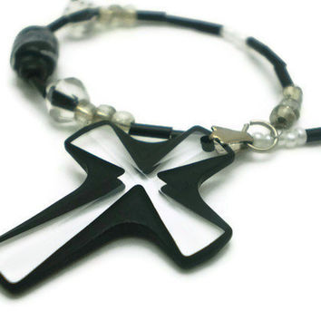 Crystal Cross Car Charm in Black with Black/Silver by justByou