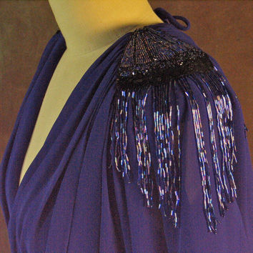 Purple Bead Fringed Dress 1980's Stretch Poly Casadei New Old Stock With Shoulder Bead Fringe
