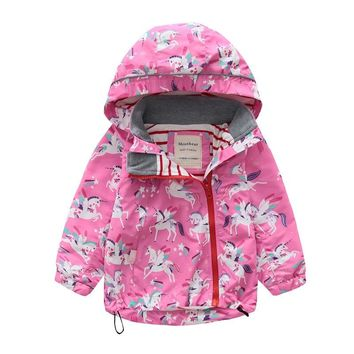 2018 Toddler Girls Jacket And Coats Unicorn Flower Pattern Kids Windbreaker Jackets Autumn Winter Jackets For Boys Children Coat