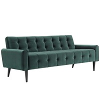 Delve Velvet Sofa in Emerald Green