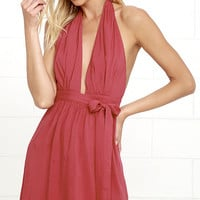 Positively Perfect Washed Red Wrap Dress