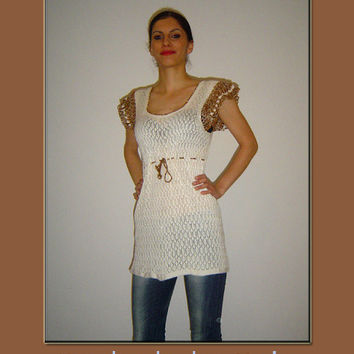 Crochet tunic / top  beige & light brown by BMaja on Etsy