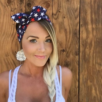 Patriotic Red White Blue July 4th Stars Vintage Pinup Rockabilly Dolly Bow Girls Fourth Headband Headscarf Bandana Hair Band Head Accessory