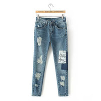 Stylish Rinsed Denim Ripped Holes Alphabet Print Pants Jeans [5013162116]