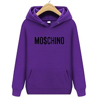 Moschino Autumn And Winter New Fashion Bust Letter Print Women Men Hooded Long Sleeve Sweater Purple