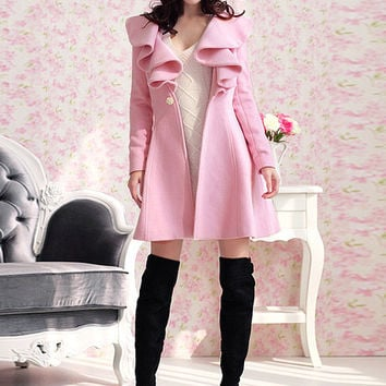 Long Sleeve Ruffled Neck Sheath A-line Woolen Coat