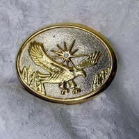 Gold And Silver Eagle Belt Buckle On Textured Silver Tone Metal Patriotic Design Collectible Gift Item 2367