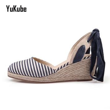 Yu Kube Hemp Fabric Women Wedge Sandals 2017 Fashion Mixed Colors Creepers Closed toe Classic Sandals Women Platform Beach Shoes