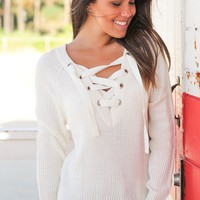 Cream Sweater with Criss Cross Detail