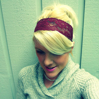 Burgundy wine stretch lace headband feminine/romantic/classic