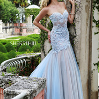 Sherri Hill 11155 - Blue Strapless Lace Homecoming Dresses Online