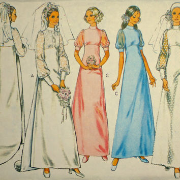 Vintage Wedding Dress Sewing Pattern Bridal Gown with Train or Bridesmaid's Dress Style 3019, Size 14 Medium Puff Sleeve, Chiffon Overlay