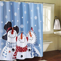Frosty Friends Snowman Christmas Holiday Shower Curtain