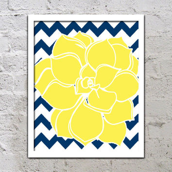 Bold Colorful Dahlia Flower Chevron Yellow Navy Blue Decor Wall Art Poster Nursery Print Bedroom Bathroom
