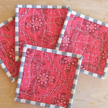 Quilted Coasters - Western Red Bandana