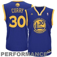 Mens Golden State Warriors Stephen Curry adidas Royal Blue Replica Road Jersey